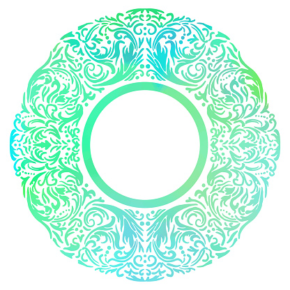 Turquoise Watercolor Hand Drawn Floral Mandala Frame. Circle Green Turquoise Frame Isolated Background. Geometric Watercolor Frame Invitation Card Template. Floral Ring, Line Art. Vector Border Design Element for Birthday, New Year, Christmas Card, Weddin