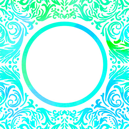 Turquoise Watercolor Hand Drawn Floral Mandala Frame. Circle Green Turquoise Frame Isolated Background. Geometric Watercolor Frame Invitation Card Template. Floral Ring, Line Art.