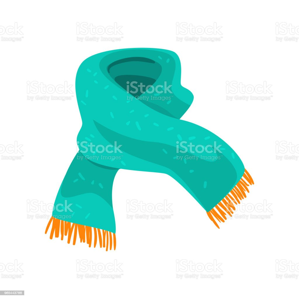 Turquoise woolen scarf with orange fringe on the ends. Element of winter clothing. Accessory for cold weather. Flat vector design turquoise woolen scarf with orange fringe on the ends element of winter clothing accessory for cold weather flat vector design - stockowe grafiki wektorowe i więcej obrazów akcesorium osobiste royalty-free