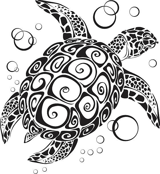 Turtle a silhouette The turtle floats in depth of the sea turtle stock illustrations