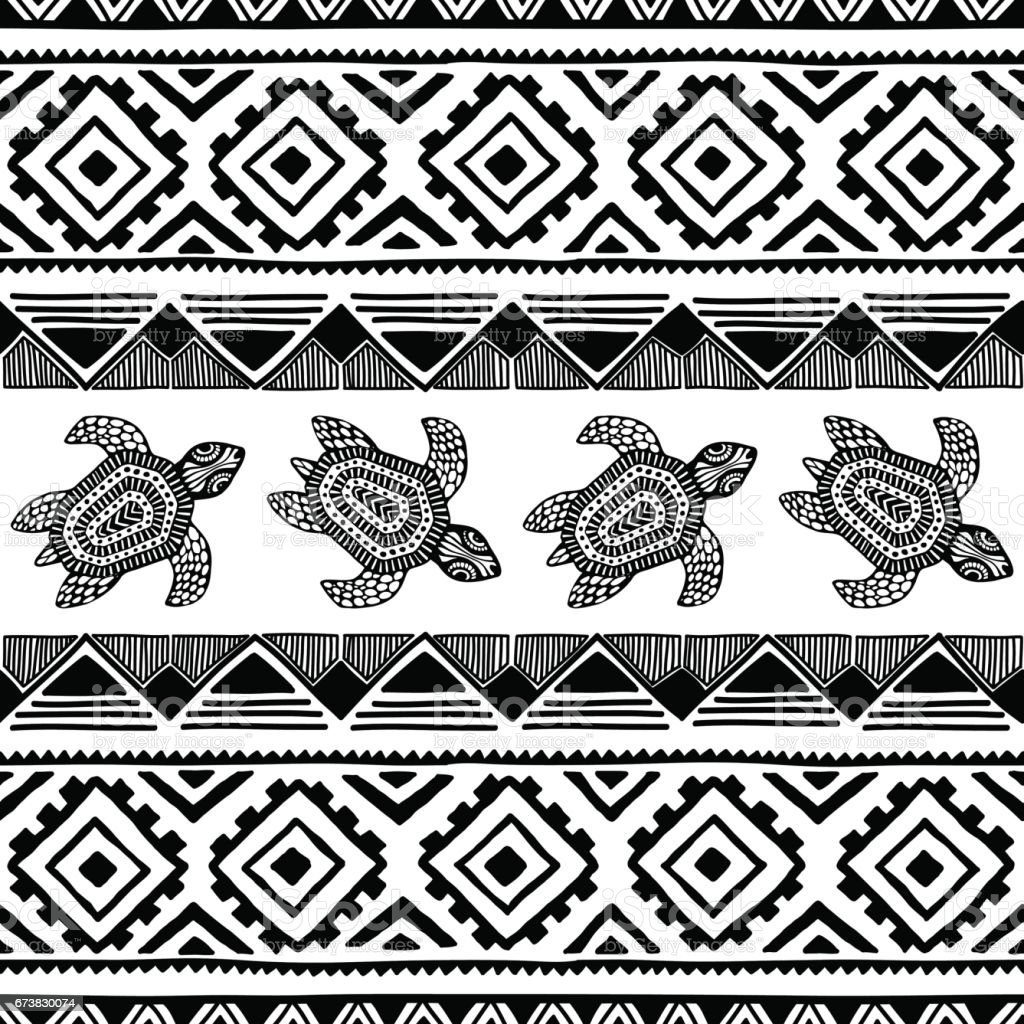 Turtle. Black and white seamless pattern. turtle black and white seamless pattern – cliparts vectoriels et plus d'images de abstrait libre de droits