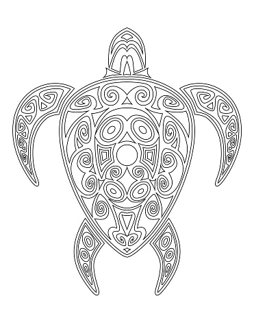 Turtle coloring book for children and adults vector illustration.