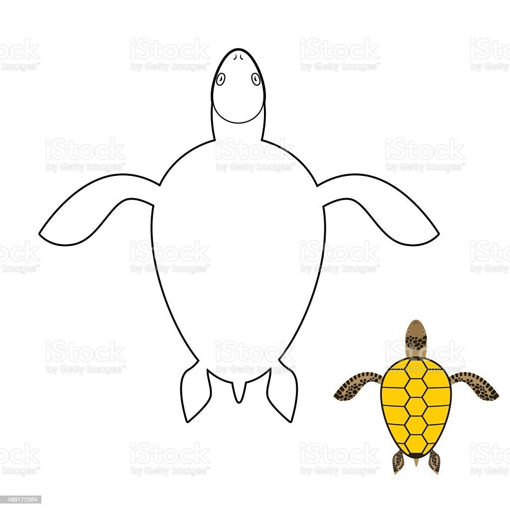 Ilustración de Turtle Libro Para Colorear Marine Reptiles ...