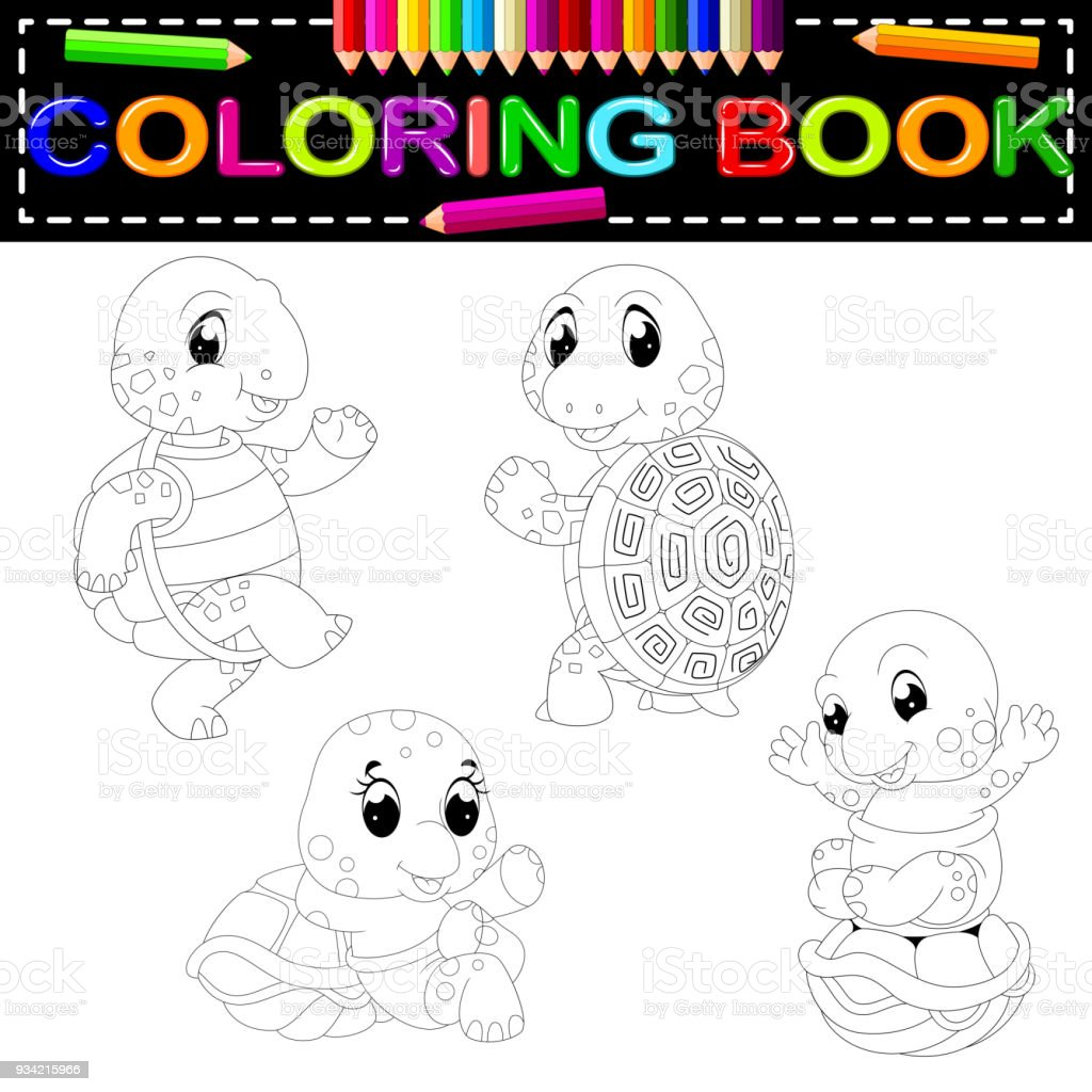- Turtle Coloring Book Stock Illustration - Download Image Now - IStock