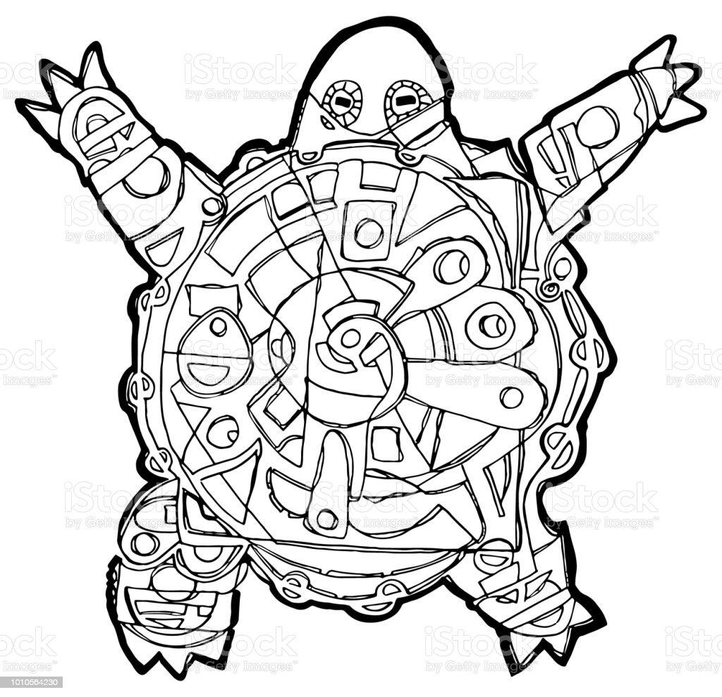 Kaplumbaga Boyama Sayfasi Stok Vektor Sanati Animasyon Karakter