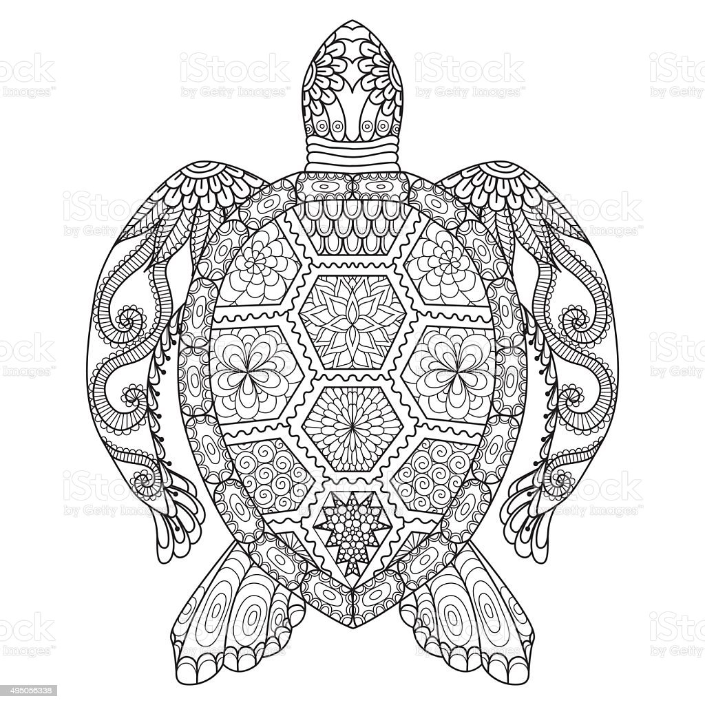 Turtle Coloring Page Stock Vector