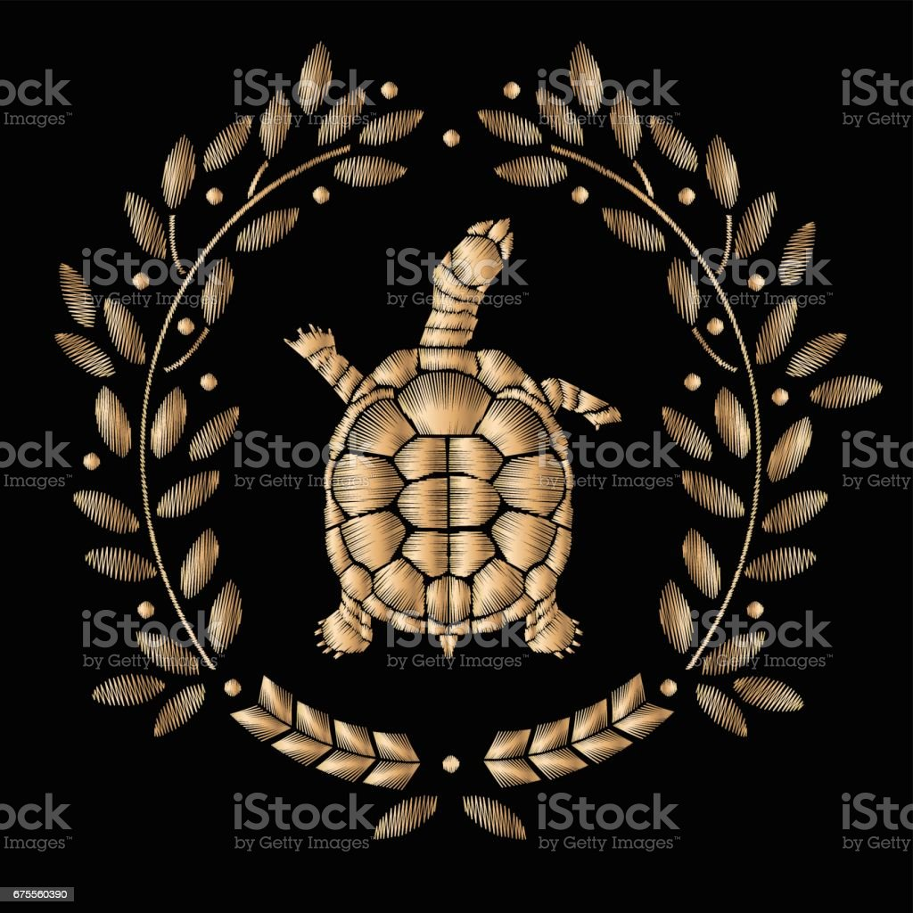 Turtle embroidery embroidered coat of arms with a gold turtle turtle embroidery embroidered coat of arms with a gold turtle vector vintage decorative element biocorpaavc
