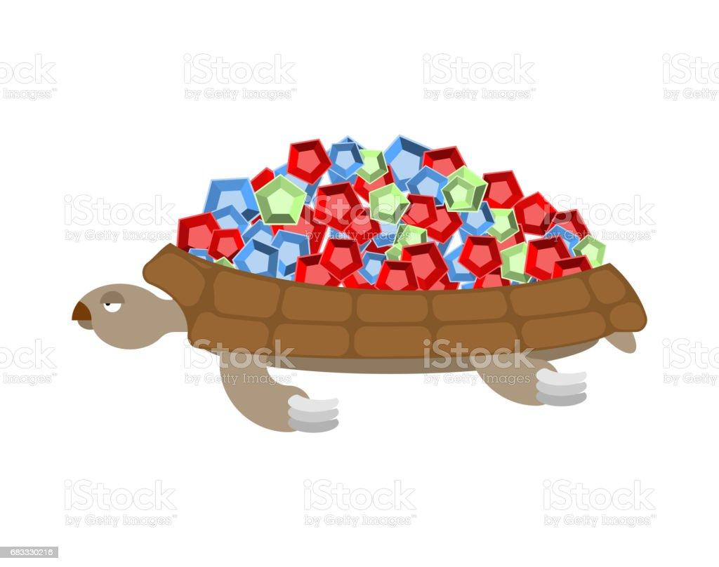 Turtle Gemstones. Treasure on shell. Rich marine animal turtle gemstones treasure on shell rich marine animal - immagini vettoriali stock e altre immagini di animale royalty-free