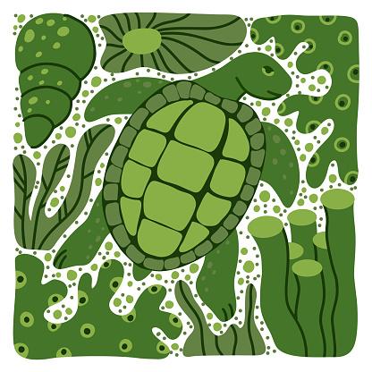 Turtle hand drawn illustration. Square cartoon poster of ocean animal