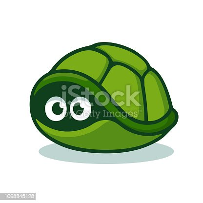 Cartoon turtle afraid to come out of its shell. Cute hiding tortoise with scared eyes. Isolated vector clip art illustration.