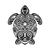 turtle in maori tattoo style. Vector illustrations