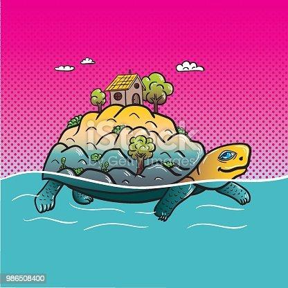 Turtle Island / Vector Illustration