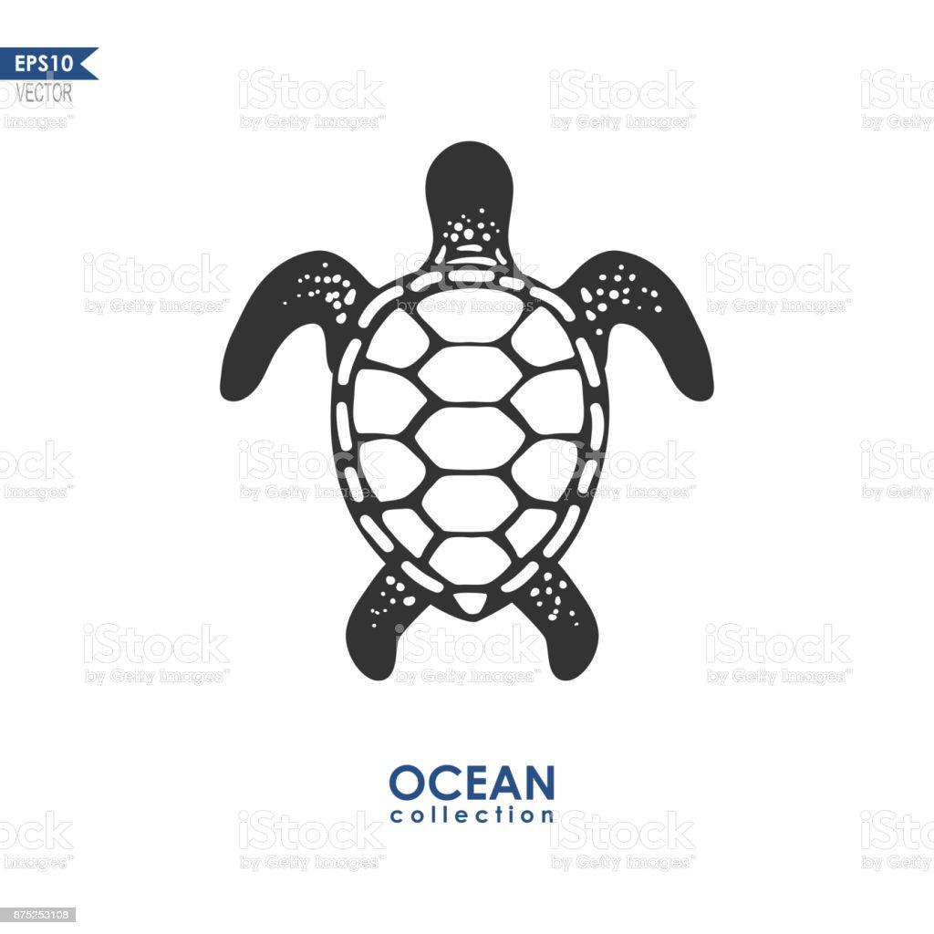 turtle isolated on white vector art illustration