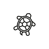 Turtle line icon. Shell, tortoise, sea life. Seafood concept. Can be used for topics like wildlife, animals, seaside cuisine