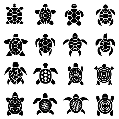 Turtle logo top view icons set, simple style