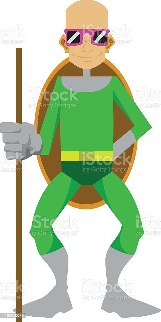 Turtle Man Cartoon Character vector art illustration