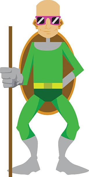 turtle man cartoon character - byteandpixel stock illustrations