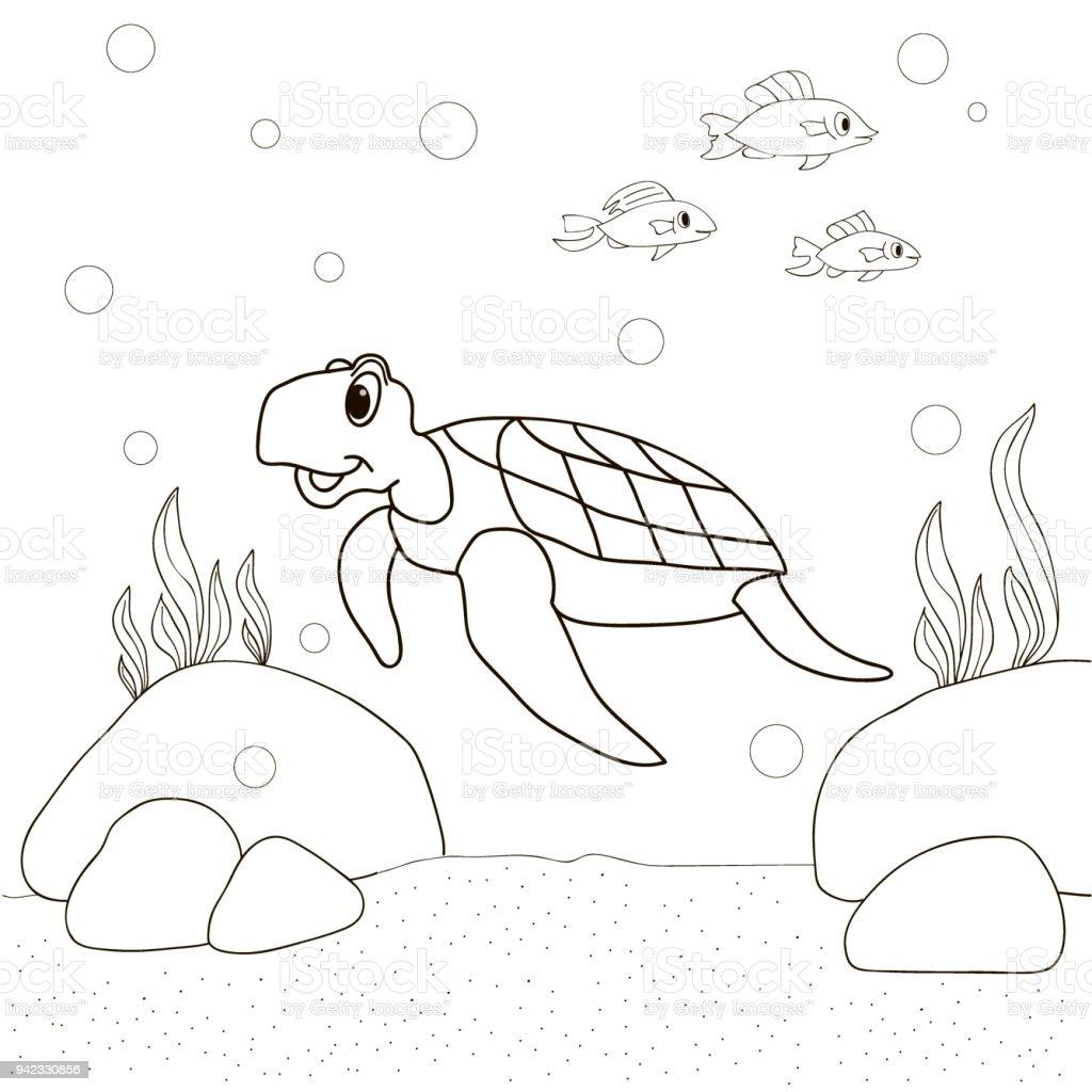 Tortuga En El Mar De Fondo Y Los Peces Nadar Dibujos Animados Para ...