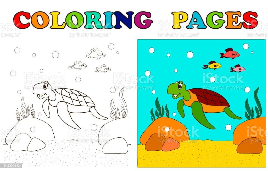 Schildkröte Am Meer Unten Und Die Fische Schwimmen Cartoon ...