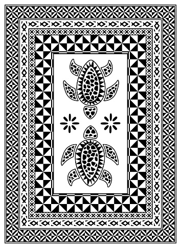 Turtle pattern inspired by Fiji and Pacific Islands traditional design elements.