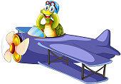 Turtle riding vintage airplane