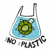 Turtle say no to plastic cartoon vector illustration doodle style