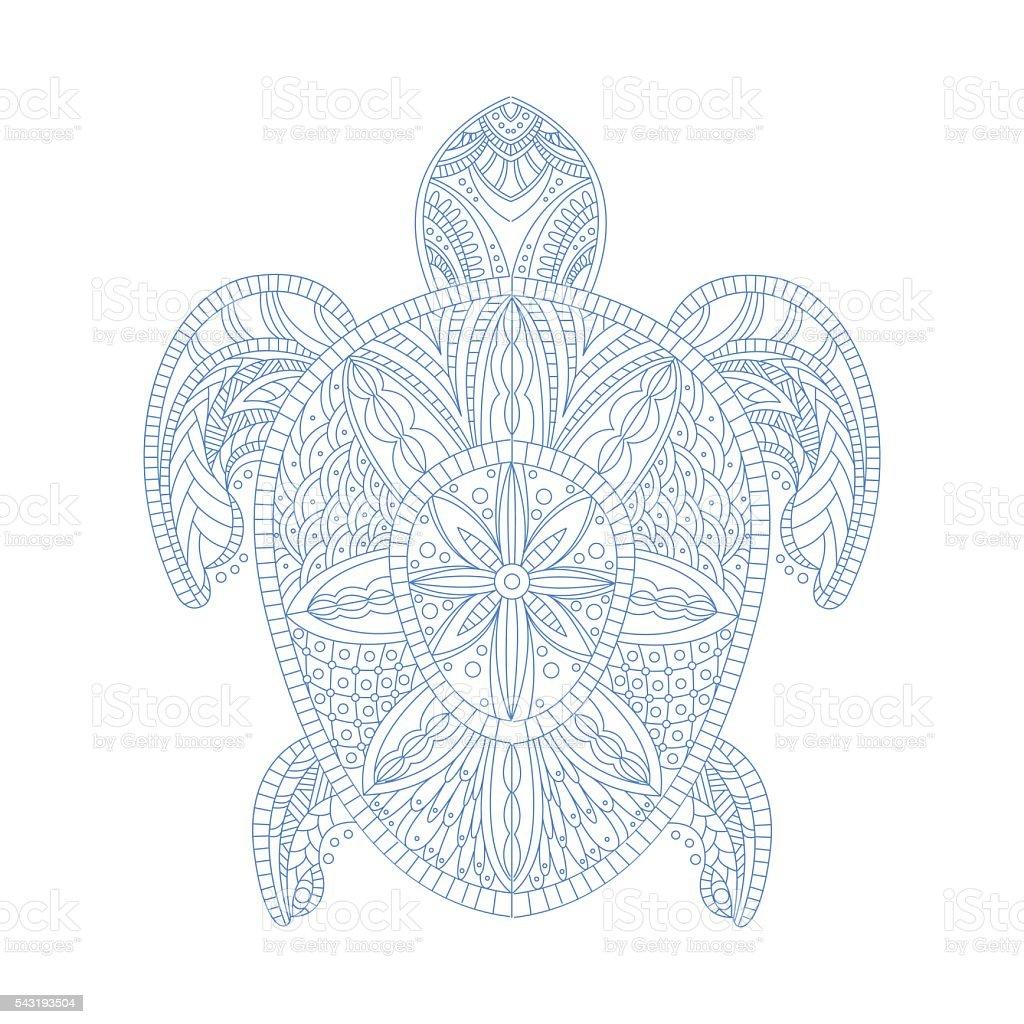 Schildkröte Stilisierte Doodle Zen Malbuch Seite Stock Vektor Art ...
