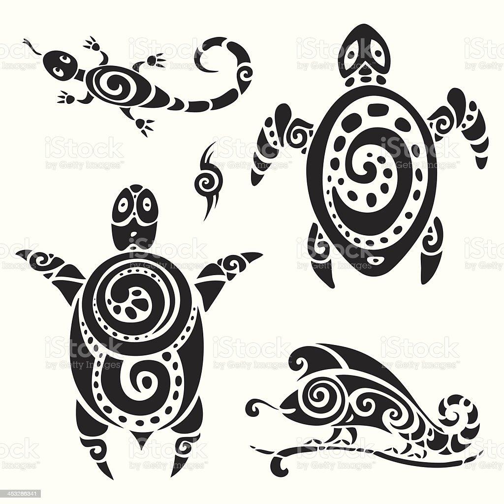 e0c8a5af8 Turtle. Tribal tattoo set. royalty-free turtle tribal tattoo set stock  vector art