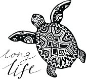 turtle with calligraphic quote - Long life. Vector