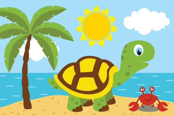 Best Cute Cartoon Turtles Walking Illustrations, Royalty ...