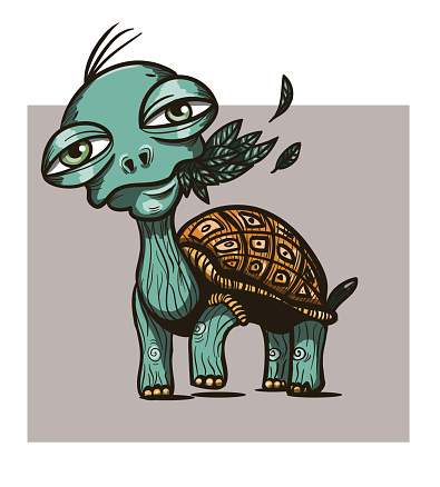 Turtle with leaves in the mouth