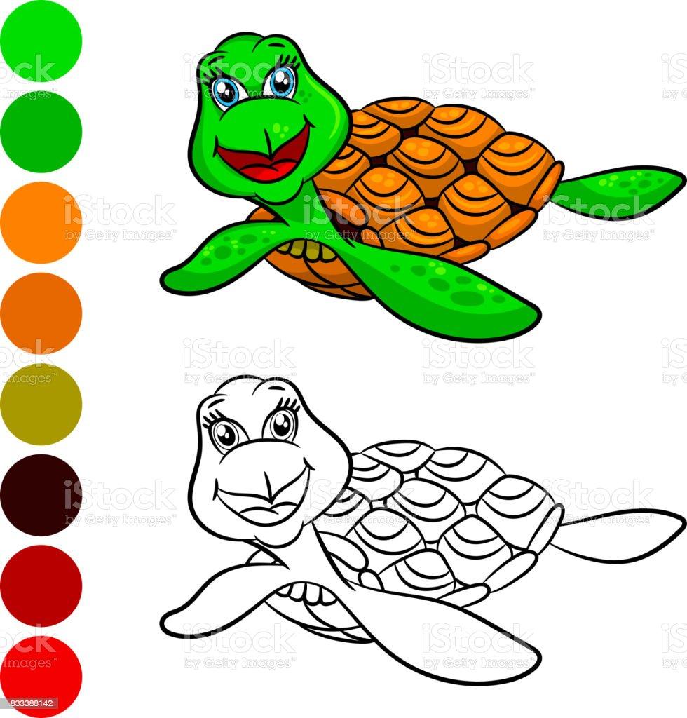 Kaplumbaga Boyama Kitabi Stok Vektor Sanati Alfabe Nin Daha