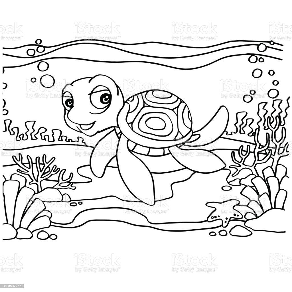 Kaplumbaga Boyama Sayfalari Vektor Stok Vektor Sanati Animasyon