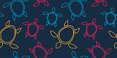 seamless pattern with silhouettes of turtles in a linear style on gray background. Modern abstract design for packaging, paper, cover, fabric, interior decor