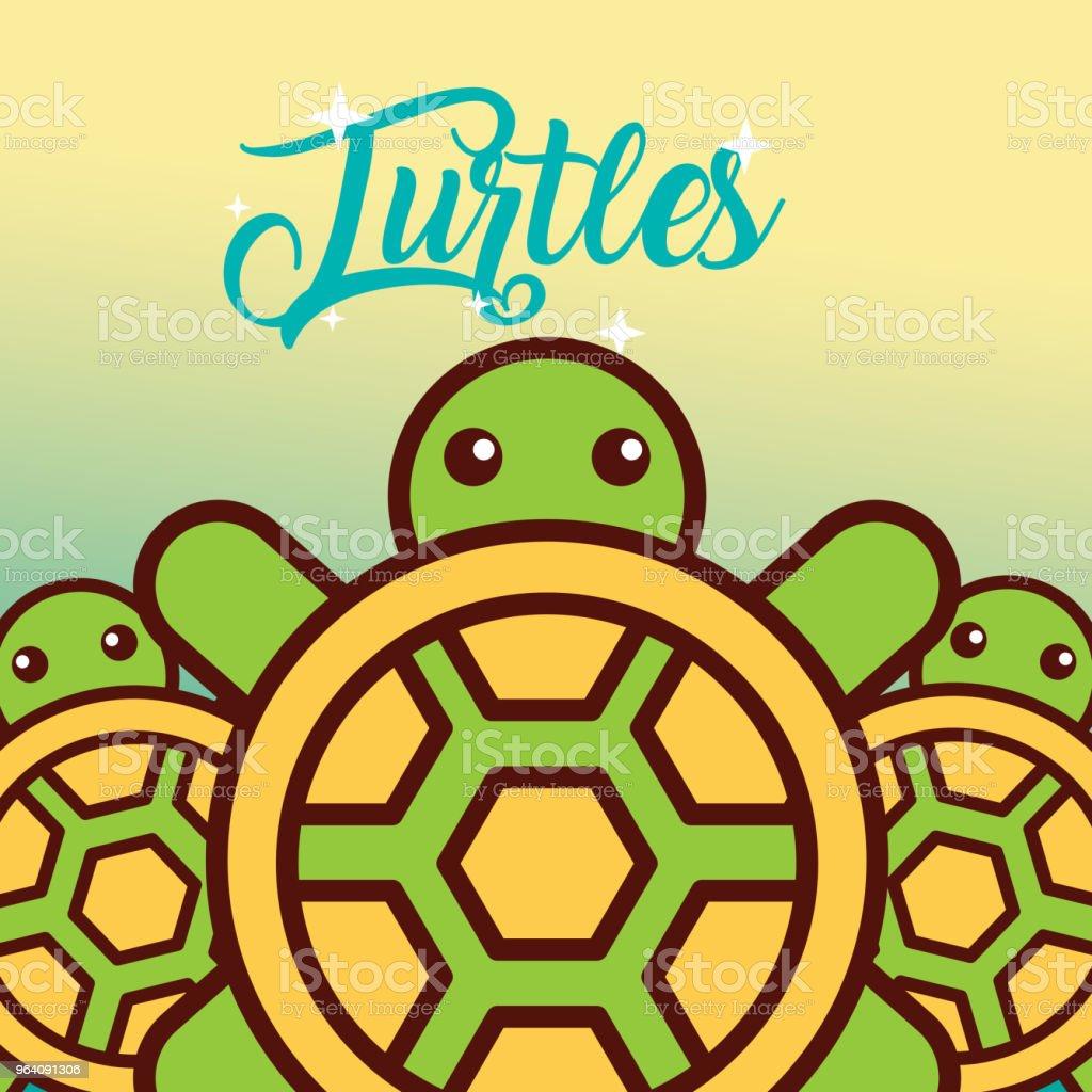 turtles sea life cartoon - Royalty-free Animal stock vector
