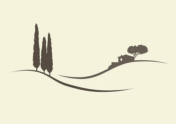 tuscanian landschaft - landhaus stock-grafiken, -clipart, -cartoons und -symbole