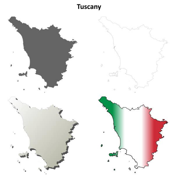 tuscany leer detaillierte gliederung karte gesetzt - toskana stock-grafiken, -clipart, -cartoons und -symbole