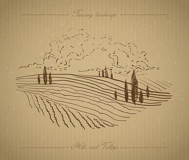 tuscany landscape hand drawn illustration - toskana stock-grafiken, -clipart, -cartoons und -symbole