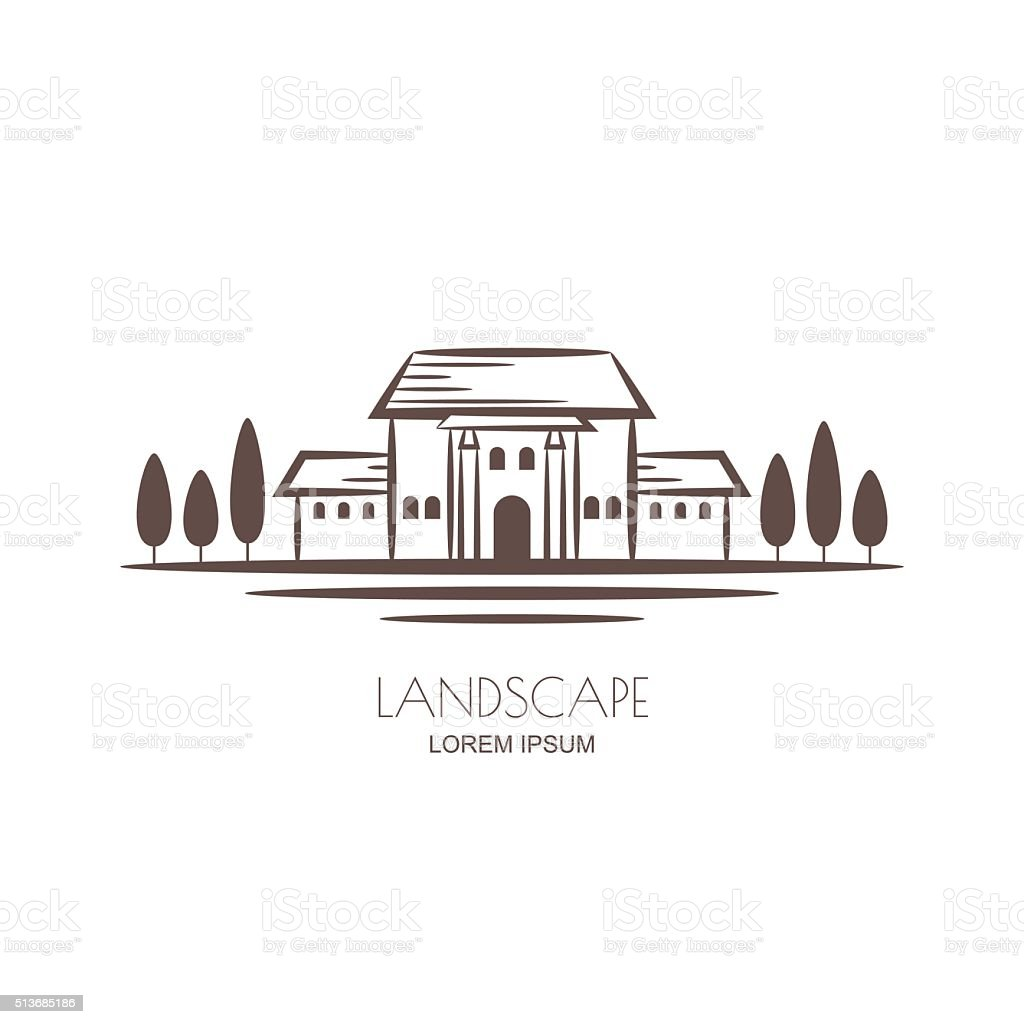 Tuscany landscape, villa and vineyard fields. vector art illustration