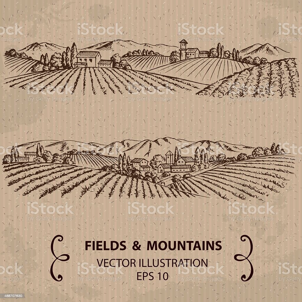Tuscany Landscape with Fields and Mountains. vector art illustration