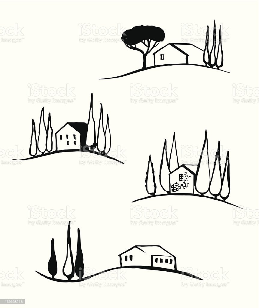 Tuscany landscapes vector art illustration