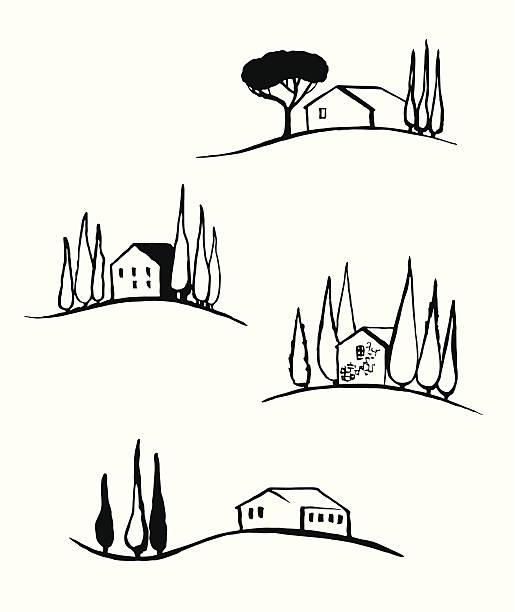 toskana landschaft - toskana stock-grafiken, -clipart, -cartoons und -symbole