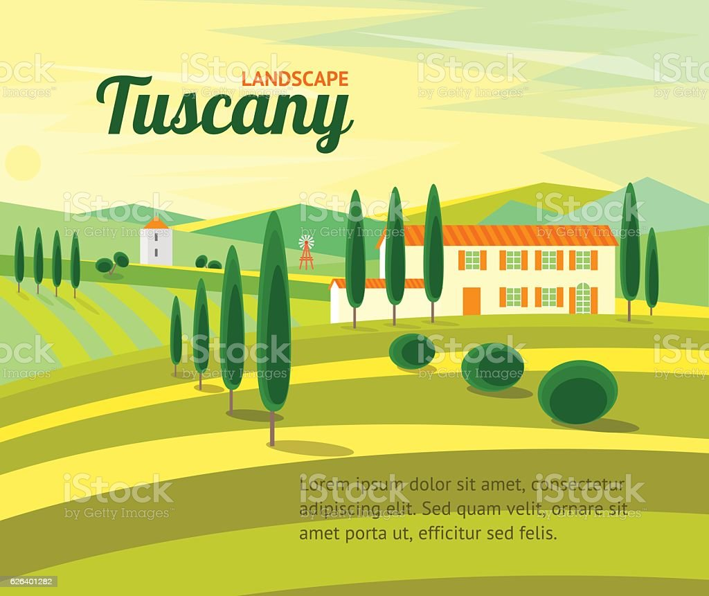 Tuscany Rural Landscape with Houses Banner . Vector vector art illustration
