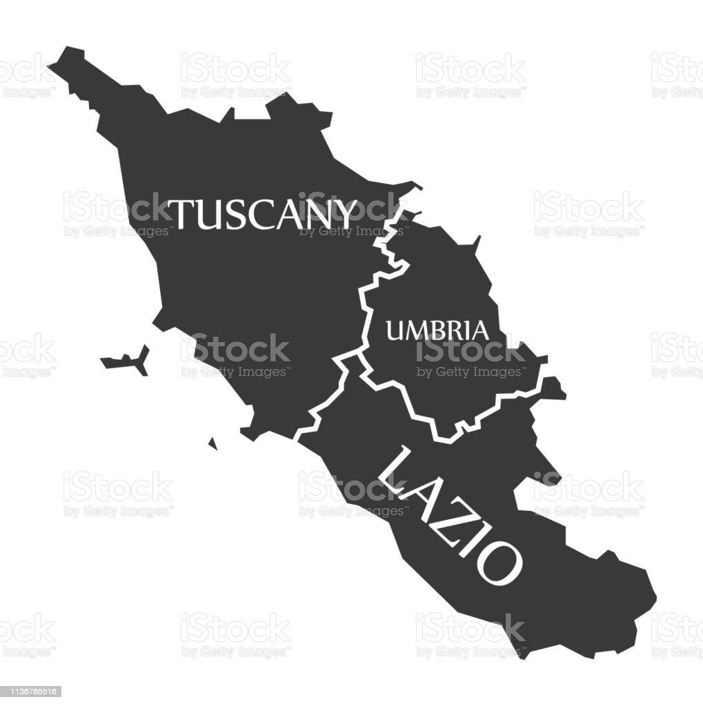 Tuscany Umbria Lazio Region Map Italy Stock Illustration ...