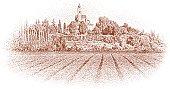 Etching illustration of ancient, elegant estate vineyard in Tuscany, Italy.