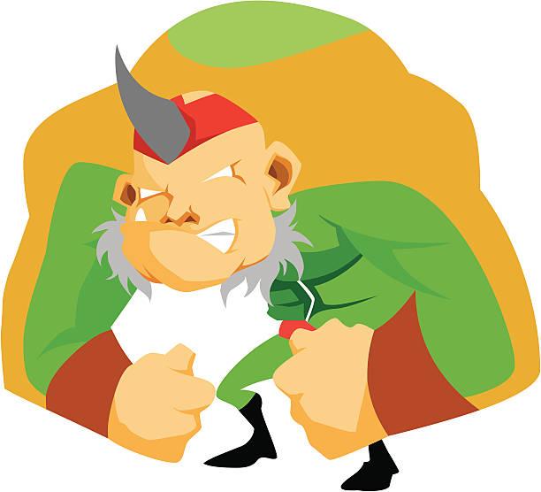 Tusk Man Cartoon Character vector art illustration