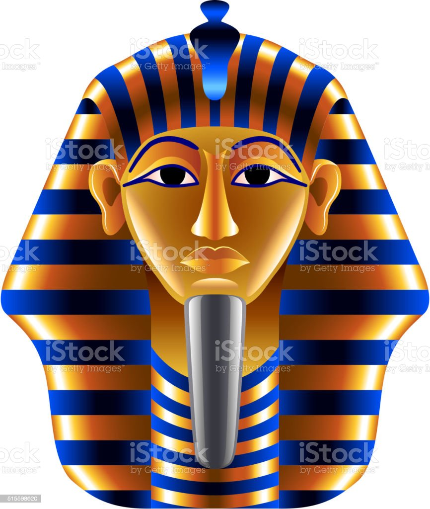 Tutankhamuns mask isolated on white vector vector art illustration