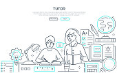 Tutor - modern line design style web banner on white background with place for text. Composition with female teacher helping a student with his school subject. Images of a globe, books, supplies