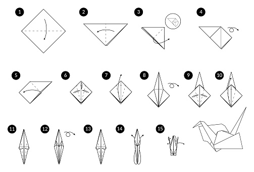 DIY Tutorial how to make origami crane from paper