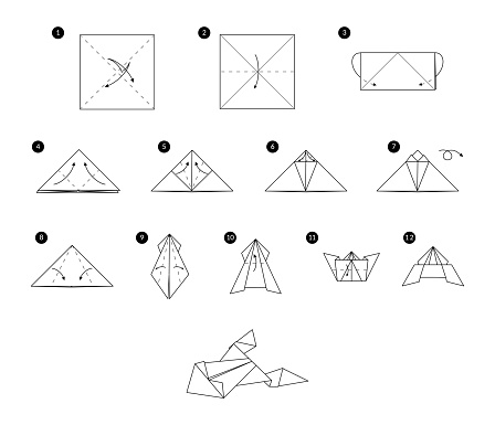 Tutorial how to make origami frog. Step by step